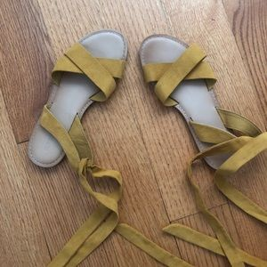 Mustard yellow ankle wrap sandals